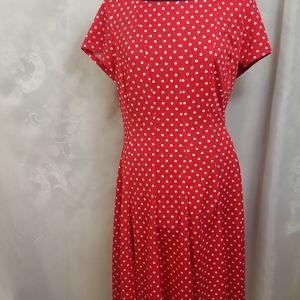 Red and white polka-dot dress
